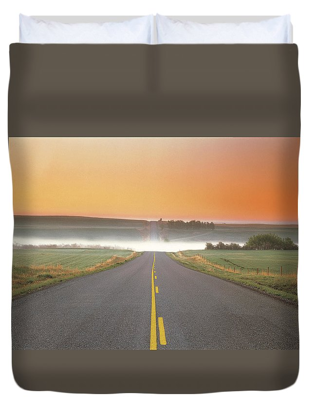 Light Duvet Cover featuring the photograph Countryside Road by Darwin Wiggett