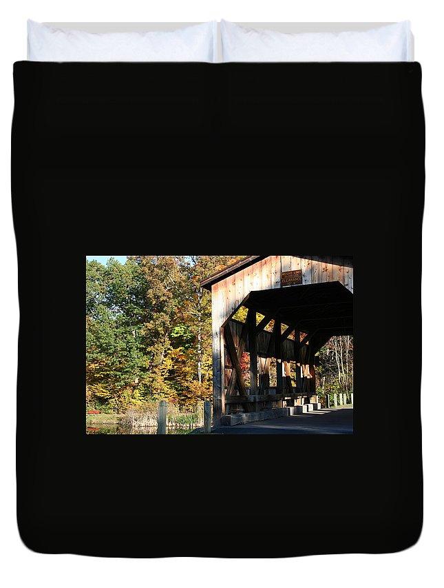 New York Duvet Cover featuring the photograph Covered Bridge by Carol Ann Thomas