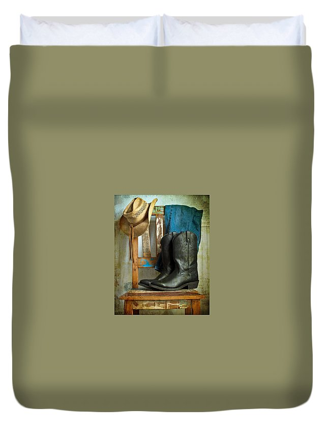 Cowboy Duvet Cover featuring the photograph Cowboy by Tammy Lee Bradley