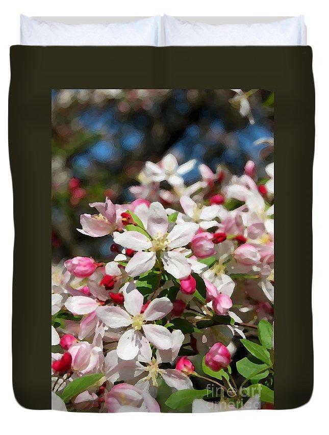 Crabapple Tree Flower Duvet Cover featuring the photograph Crabapple Tree Flower by Eva Kaufman