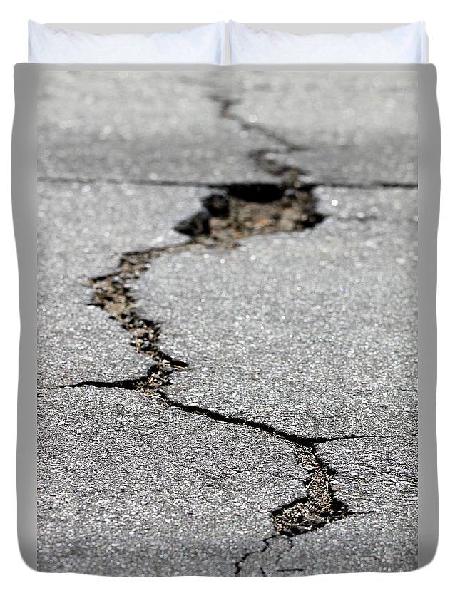 Street Duvet Cover featuring the photograph Crack In The Street by Henrik Lehnerer