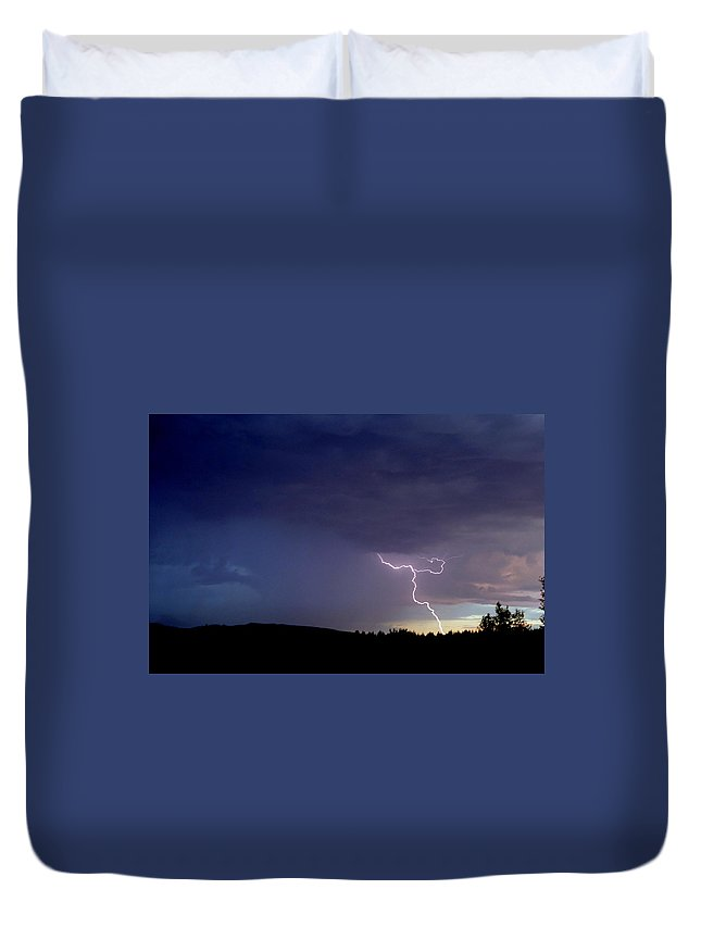Lightning Duvet Cover featuring the photograph Crackle And Pop by Peter Mooyman