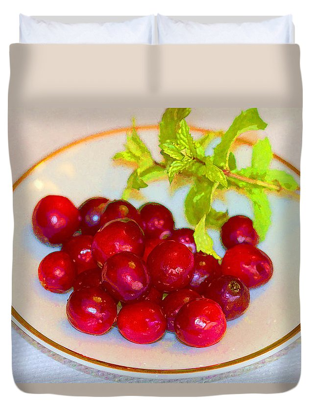 Cranberries Duvet Cover featuring the photograph Cranberries And Mint by Kathy Clark
