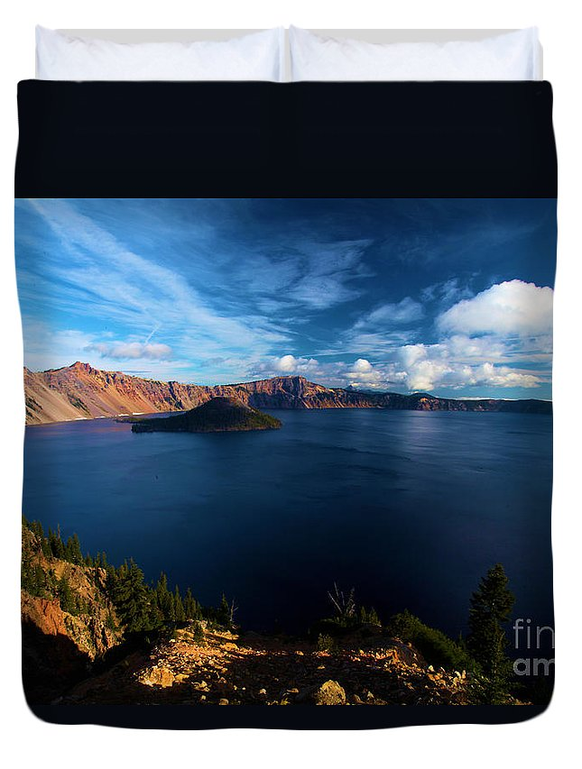 Crater Lake National Park Duvet Cover featuring the photograph Crater Lake Minus Trees by Adam Jewell