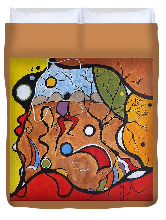 Landscape Duvet Cover featuring the painting Crazy Rain Dance by Ruth Palmer