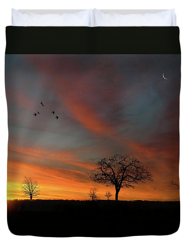 Endre Duvet Cover featuring the photograph Created Sunset by Endre Balogh