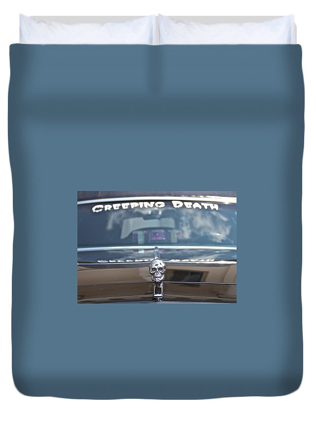 Creeping Death Funeral Hearse Car Show Skeleton Duvet Cover featuring the photograph Creeping Death by Alice Gipson