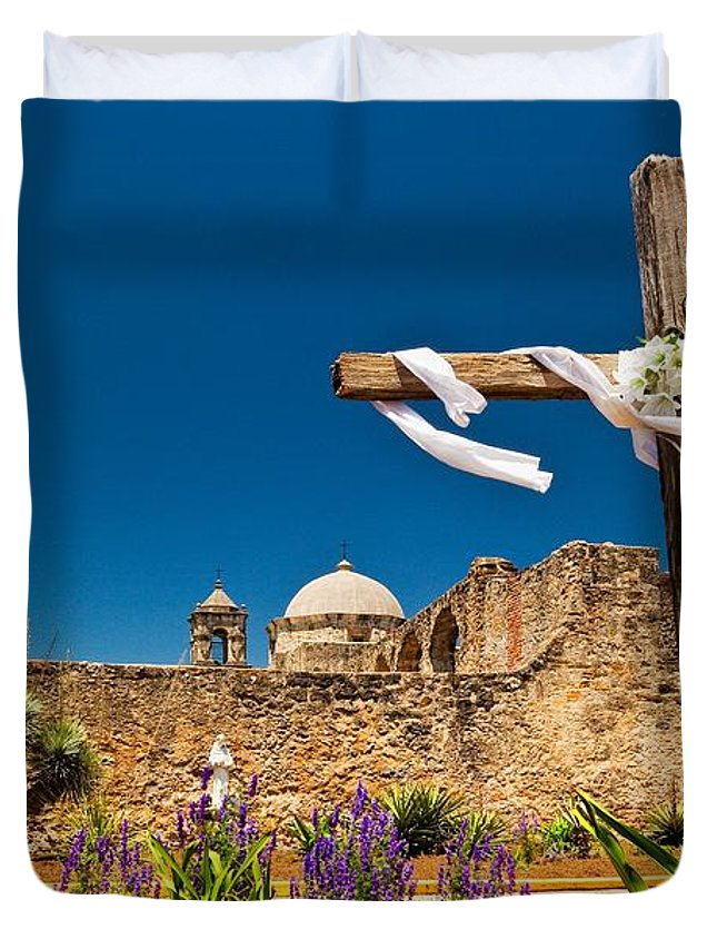 Mission Duvet Cover featuring the photograph Cross At Mission San Jose Texas by Matt Suess