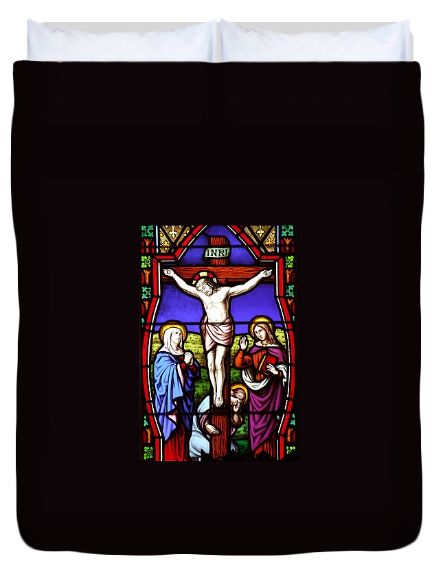 Cross Duvet Cover featuring the photograph Cross Stained Glass by Munir Alawi