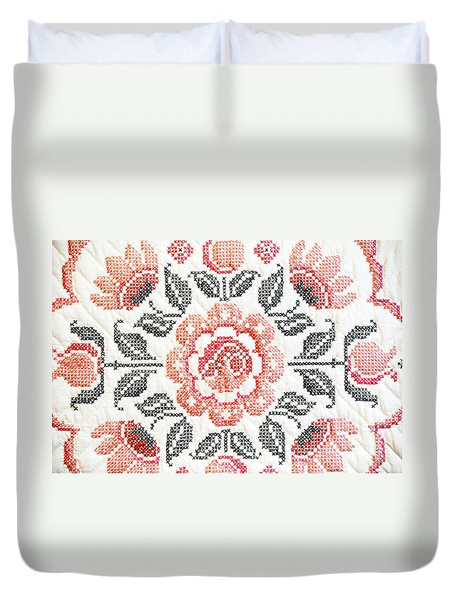 Quilt Duvet Cover featuring the photograph Cross Stitch Roses by Marilyn Hunt