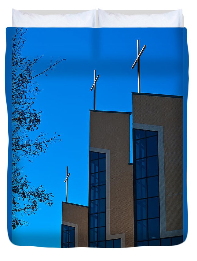Church Duvet Cover featuring the photograph Crosses Of Livingway Church by Ed Gleichman