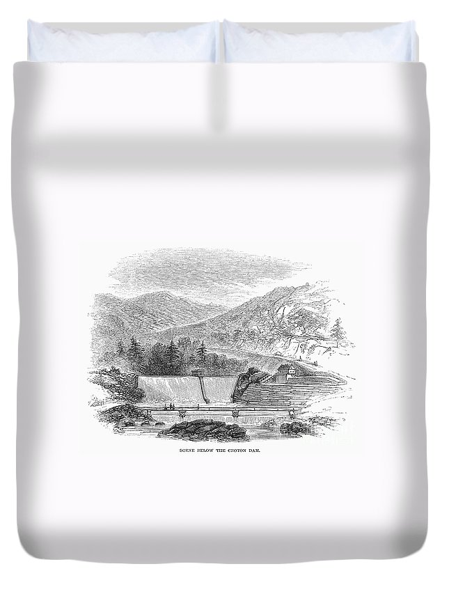 1860 Duvet Cover featuring the photograph Croton Dam, 1860 by Granger