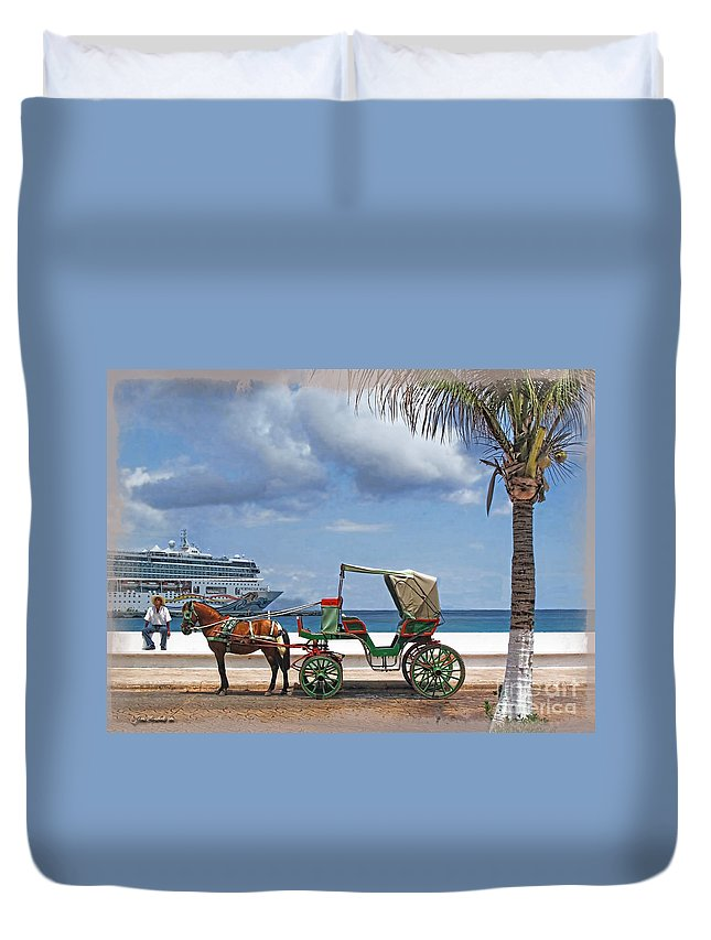 Cruise Duvet Cover featuring the photograph Waiting For Customers by Joan Minchak