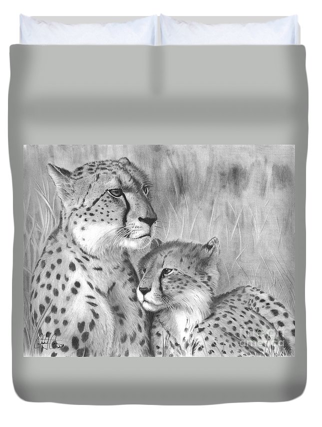 Cuddle Duvet Cover featuring the drawing Cuddle by Christian Conner