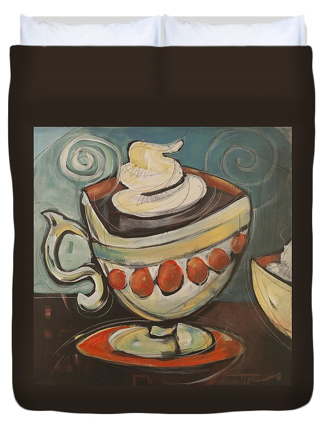 Coffee Duvet Cover featuring the painting Cup Of Mocha by Tim Nyberg