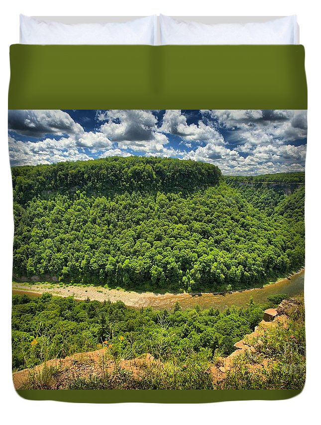 Letchworth State Park Duvet Cover featuring the photograph Curve In The Canyon by Adam Jewell