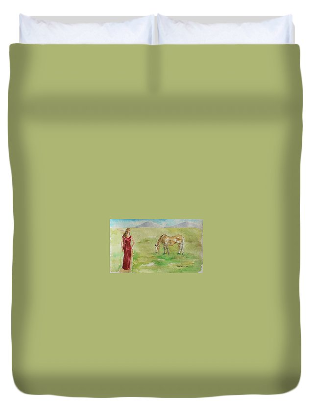 Curves Duvet Cover featuring the painting Curves by Geeta Biswas