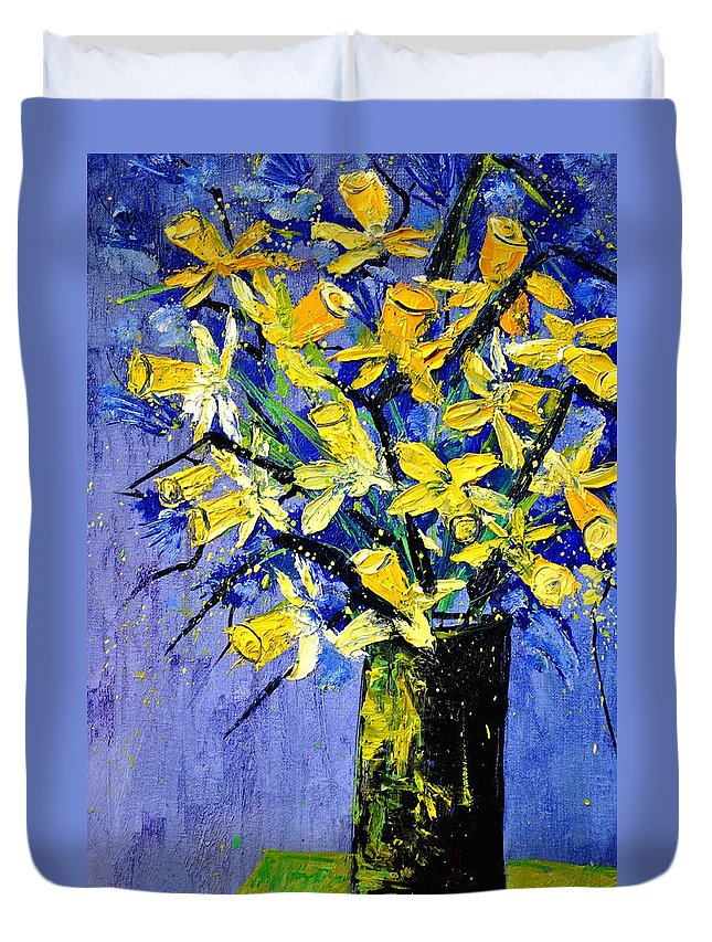 Flowers Duvet Cover featuring the painting Daffodils by Pol Ledent