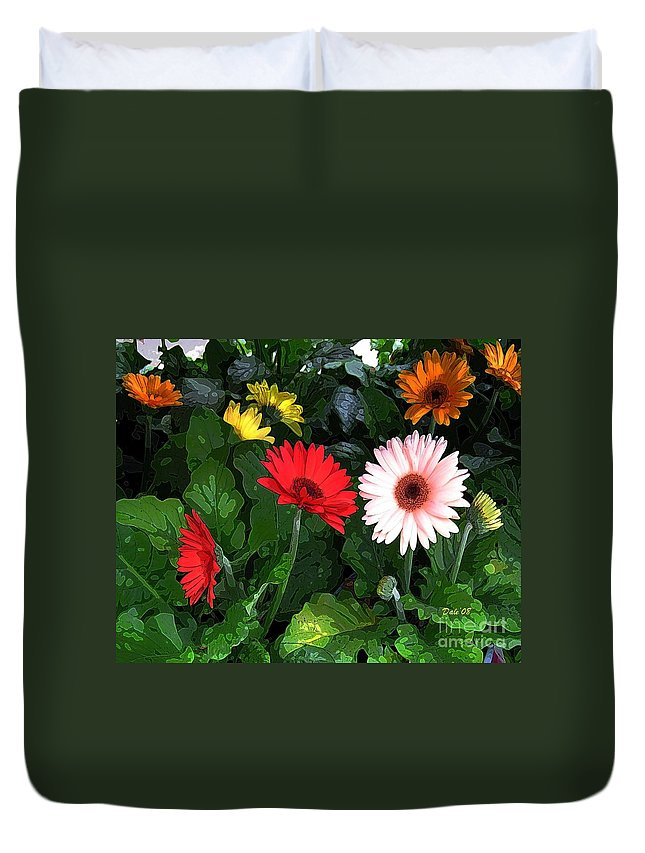 Flowers Duvet Cover featuring the digital art Dahlias by Dale  Ford