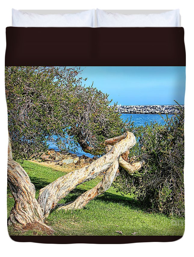 Dana Point Duvet Cover featuring the photograph Dana Point Harbor Channel by Mariola Bitner