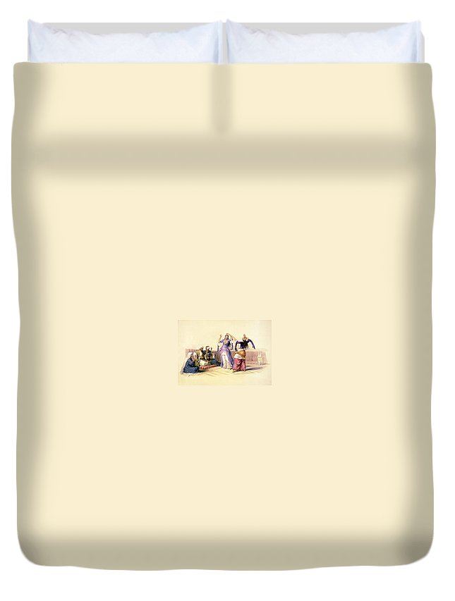 Dancing Duvet Cover featuring the photograph Dancing Girls At Cairo by Munir Alawi