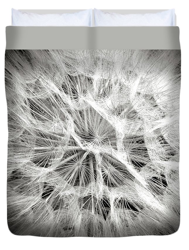 Flower Duvet Cover featuring the photograph Dandelion In Black And White by Endre Balogh