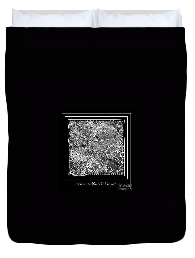 Abstract Duvet Cover featuring the photograph Dare To Be Different - Black And White Abstract by Carol Groenen