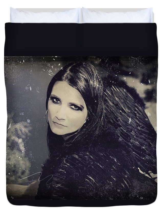 Dark Angel Duvet Cover featuring the photograph Dark Days by Laurie Search