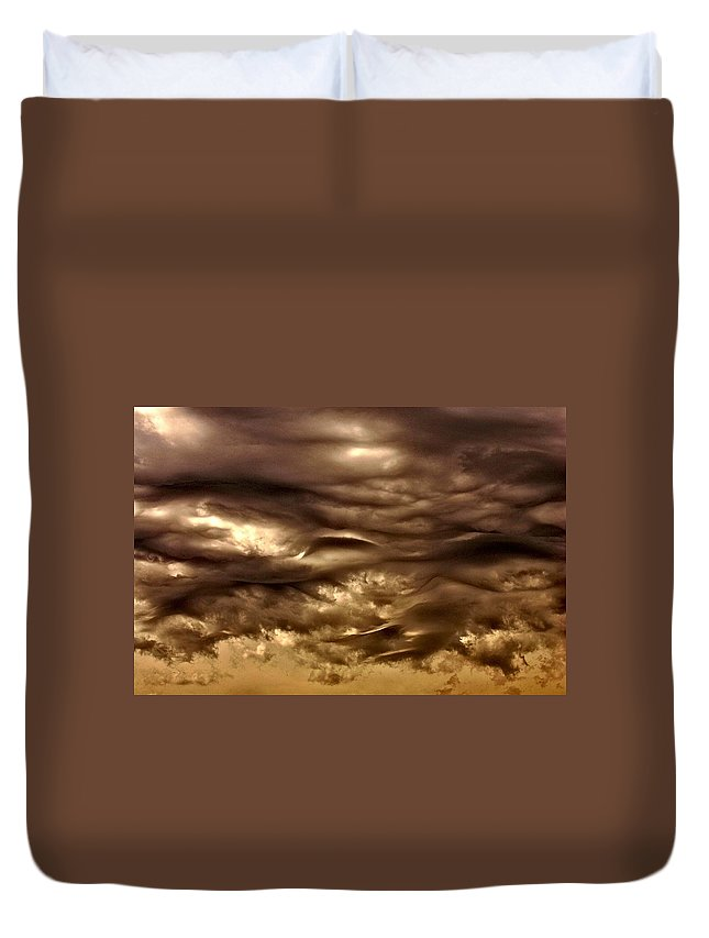 Clouds Duvet Cover featuring the photograph Dark Sky by One Rude Dawg Orcutt