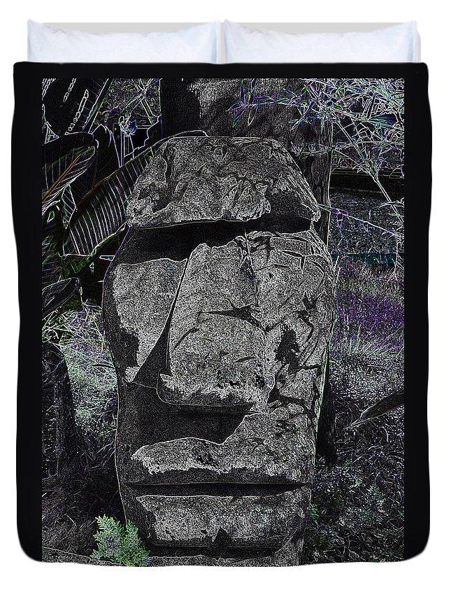Tiki Duvet Cover featuring the photograph Dark Tiki by Bill Owen