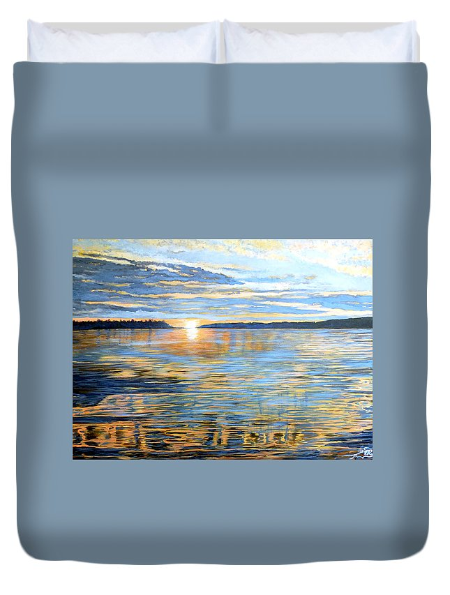 Davidson Quebec Duvet Cover featuring the painting Davidson Quebec by Tom Roderick