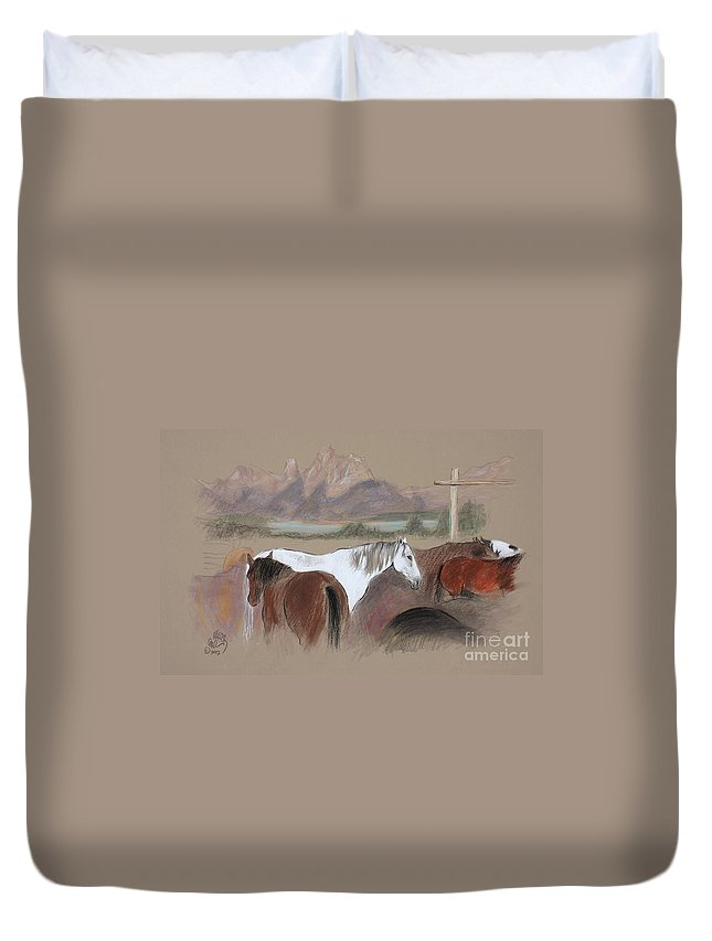 Trix Ranch Duvet Cover featuring the pastel Dawn at Triangle X Corrals Jackson Hole by Paul Miller