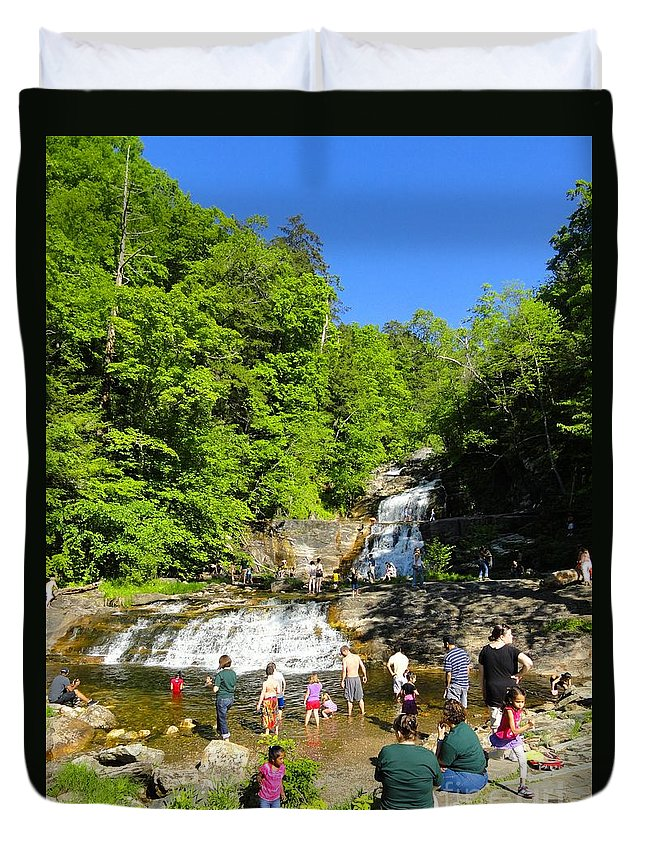 Waterfall Duvet Cover featuring the photograph Day At Kent Falls State Park by Meandering Photography
