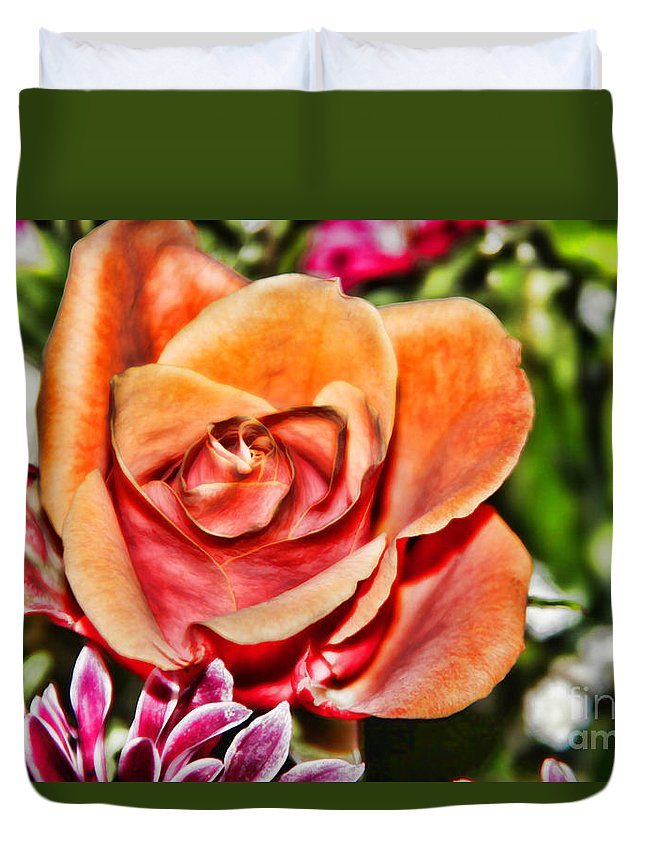 Dazzling Rose Duvet Cover featuring the photograph Dazzling Rose by Mariola Bitner