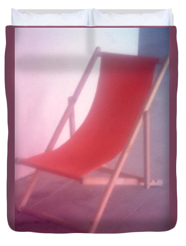 Color Duvet Cover featuring the photograph Deauville Chair by Tamarra Tamarra