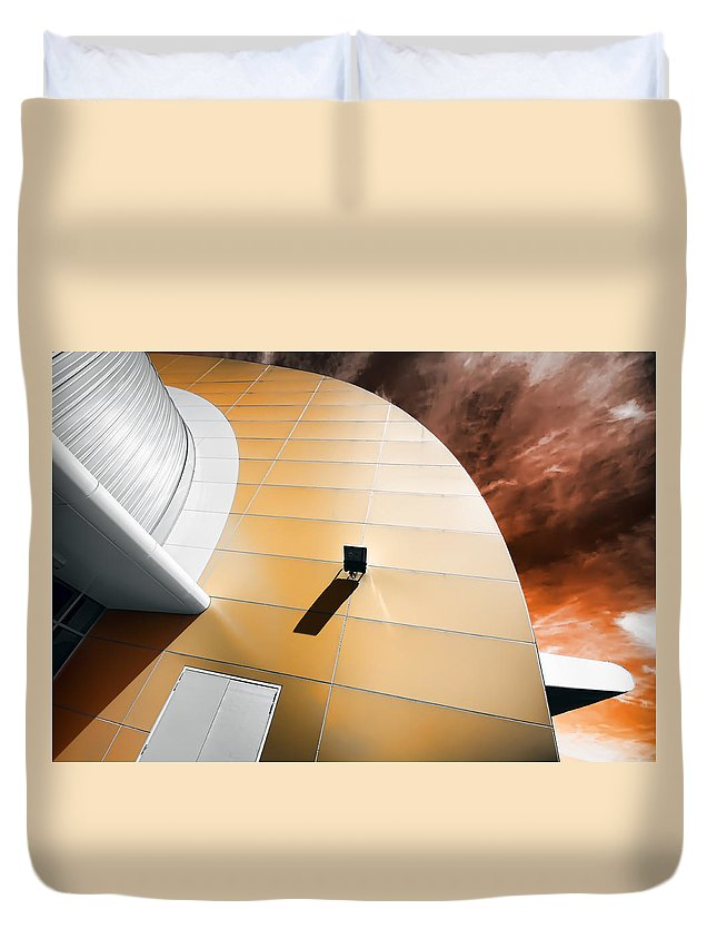 Architecture Duvet Cover featuring the photograph Deckchair In Space by Wayne Sherriff