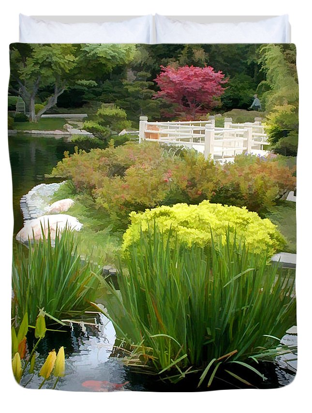 Japanese Garden Duvet Cover featuring the painting Deep Panorama Of Japanese Garden And Koi by Elaine Plesser