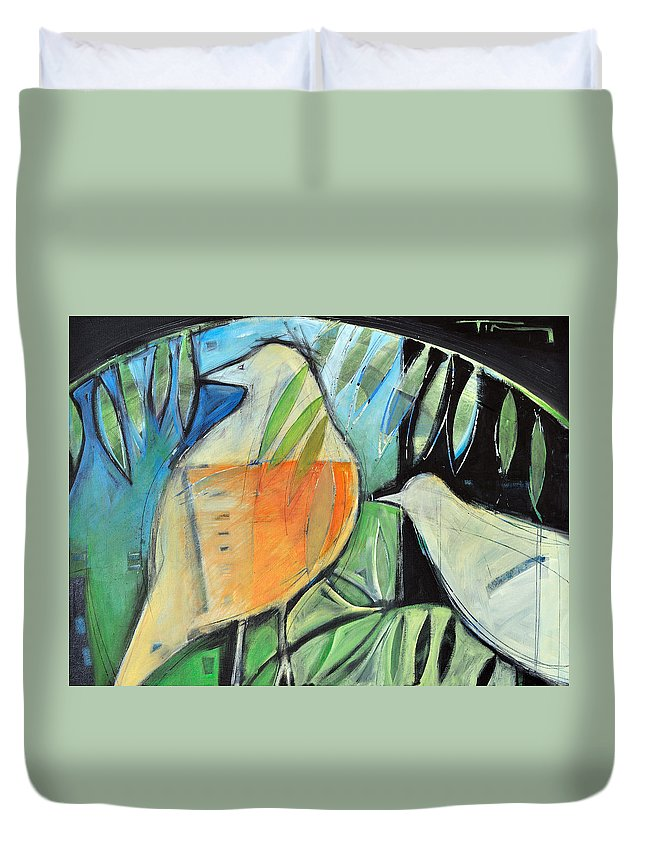 Birds Duvet Cover featuring the painting Defender by Tim Nyberg