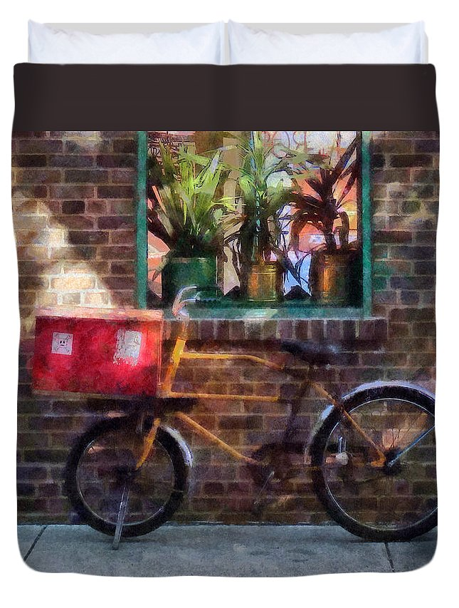 Bicycle Duvet Cover featuring the photograph Delivery Bicycle Greenwich Village by Susan Savad