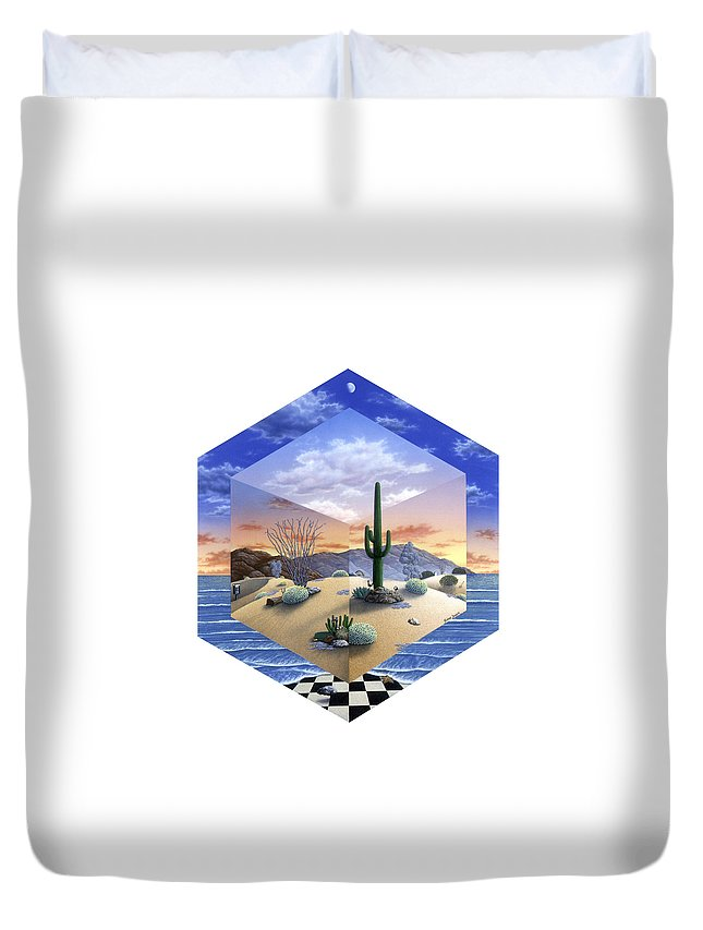 Desert Duvet Cover featuring the painting Desert on My Mind 2 by Snake Jagger