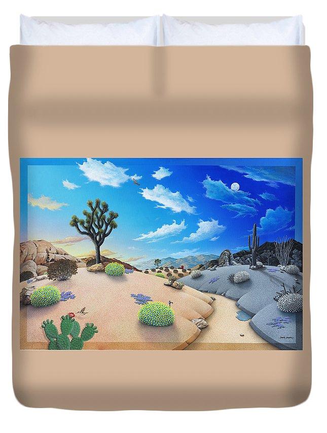 Desert Duvet Cover featuring the painting Desert Timeline by Snake Jagger