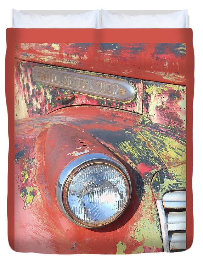 Vintage Duvet Cover featuring the photograph Desert Truck by Judy Hall-Folde