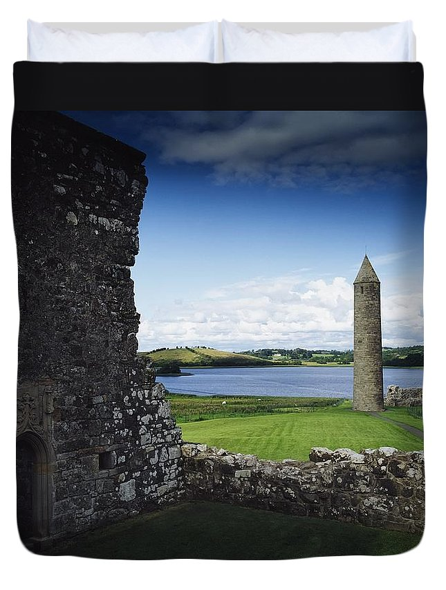 Outdoors Duvet Cover featuring the photograph Devenish Monastic Site, Lough Erne, Co by The Irish Image Collection