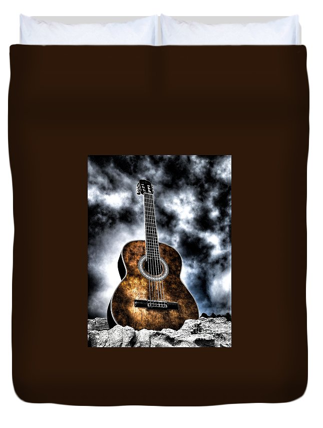 Acoustic Guitar Duvet Cover featuring the photograph Devils Acoustic by Jason Abando