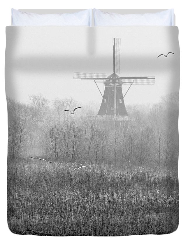 Art Duvet Cover featuring the photograph Dezwaan Windmill On A Foggy Morning In March by Randall Nyhof