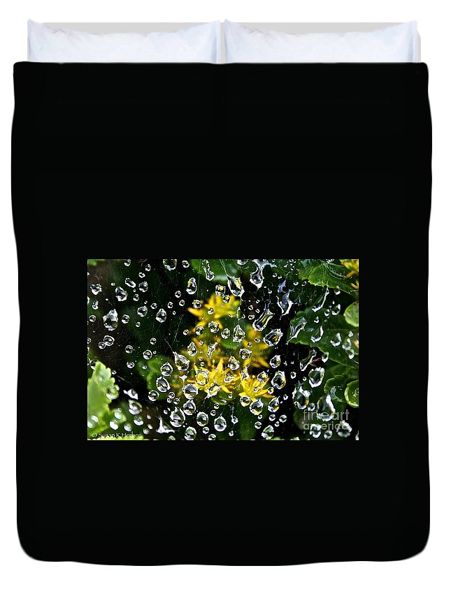 Outdoors Duvet Cover featuring the photograph Diamond Studded Web by Susan Herber
