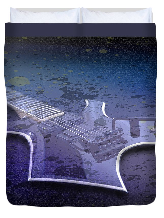 String Duvet Cover featuring the photograph Digital-art E-guitar I by Melanie Viola
