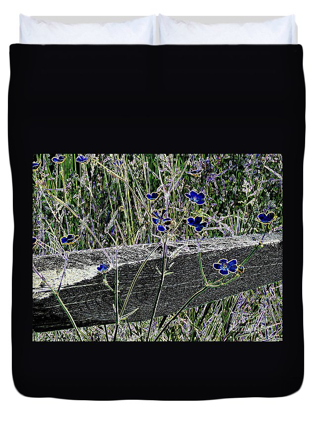 Digital Duvet Cover featuring the photograph Digital Daisies by Art Dingo