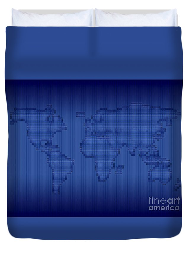 Abstract Duvet Cover featuring the digital art Digitally Generated Image Of The World by Vlad Gerasimov
