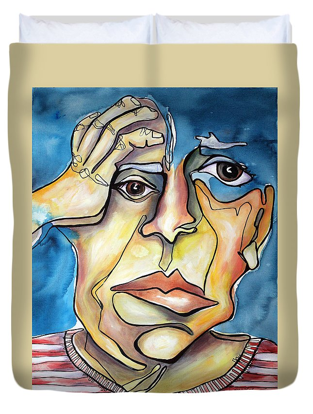 Portrait Duvet Cover featuring the painting Disjointed Thought by Darcy Lee Saxton